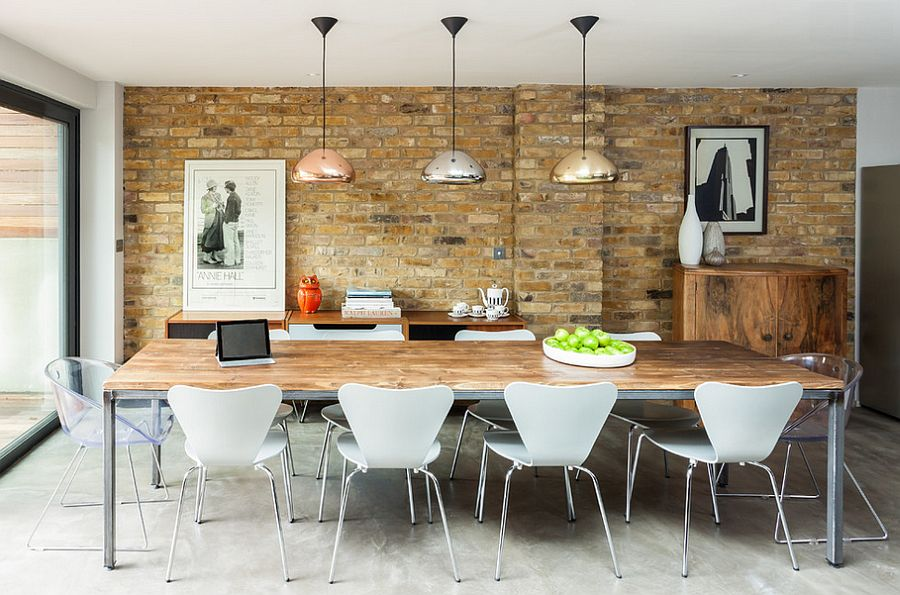 Beautiful dining room has a playful modern vibe