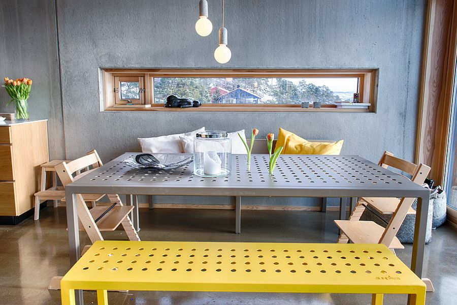 Distinct dining table and seating bring playful charm to the dining room