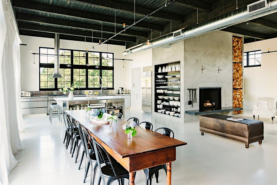 Open plan living area with a distinct industrial style